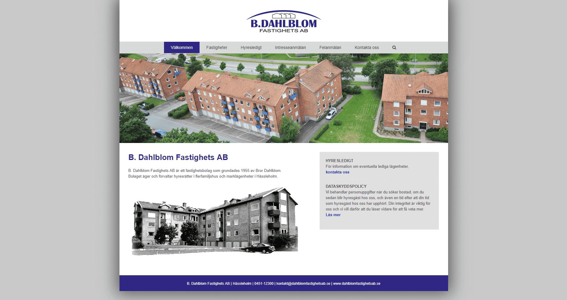 Dahlblom Fastighets AB websida