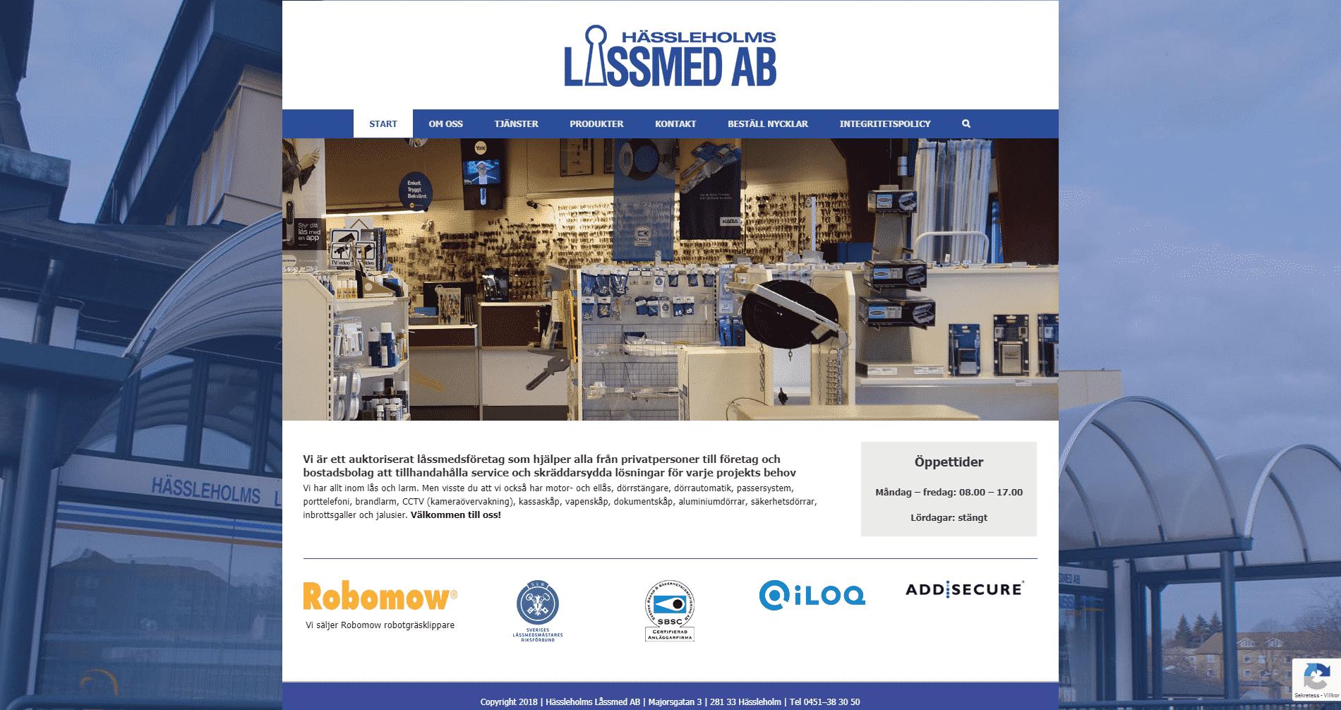 Hässleholms Låssmed AB websida